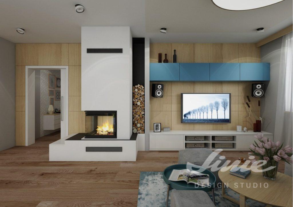 Inspirace pro obývací pokoj s televizní stěnou s bílými a modrými odstíny