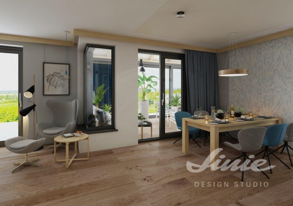 Inspirace pro obývací pokoj s modrými tóny a podlahou ze světlého dřeva