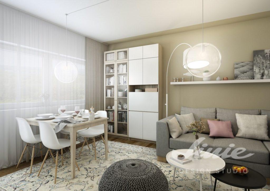 Inspirace pro obývací pokoj se stěnou v béžové barvě