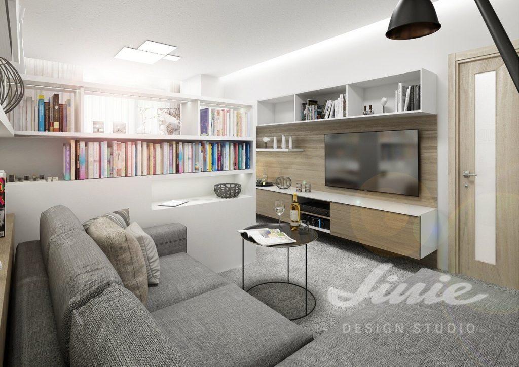 Inspirace pro obývací pokoj s nábytkem v bílé barvě a šedou pohovkou