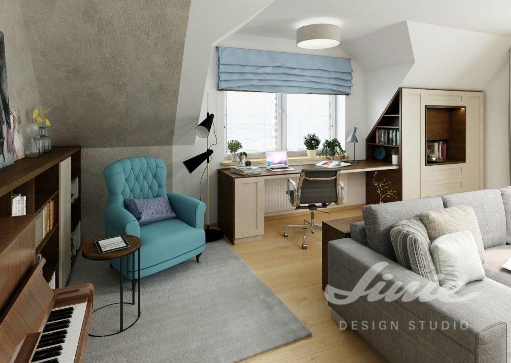 Inspirace pro obývací pokoj s tyrkysovým křeslem a světlými stěnami