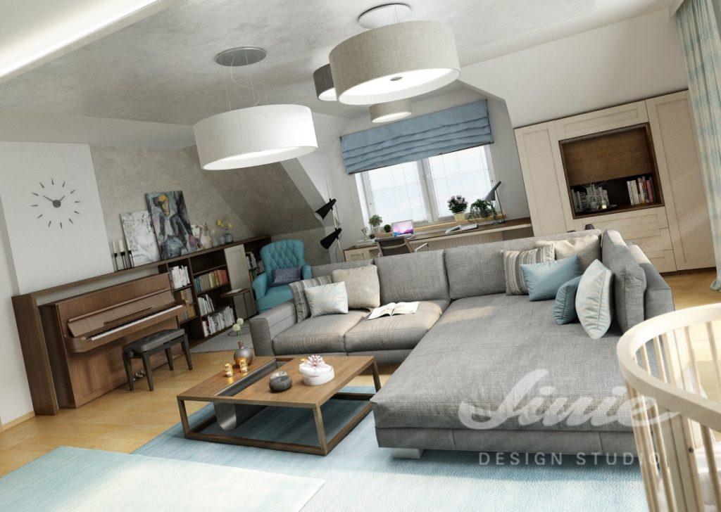 Inspirace pro obývací pokoj s šedou sedací soupravou a modrými detaily