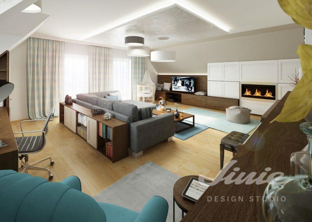 Inspirace pro obývací pokoj se světle modrými prvky
