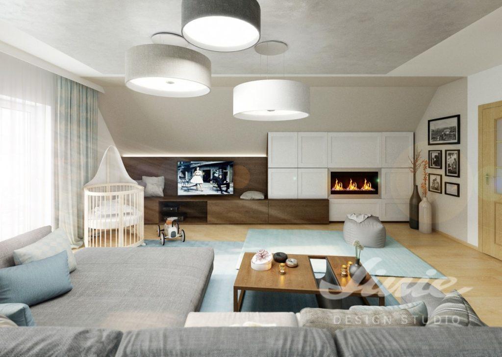 Inspirace pro obývací pokoj v jemných barvách s tmavým a bílým dřevem