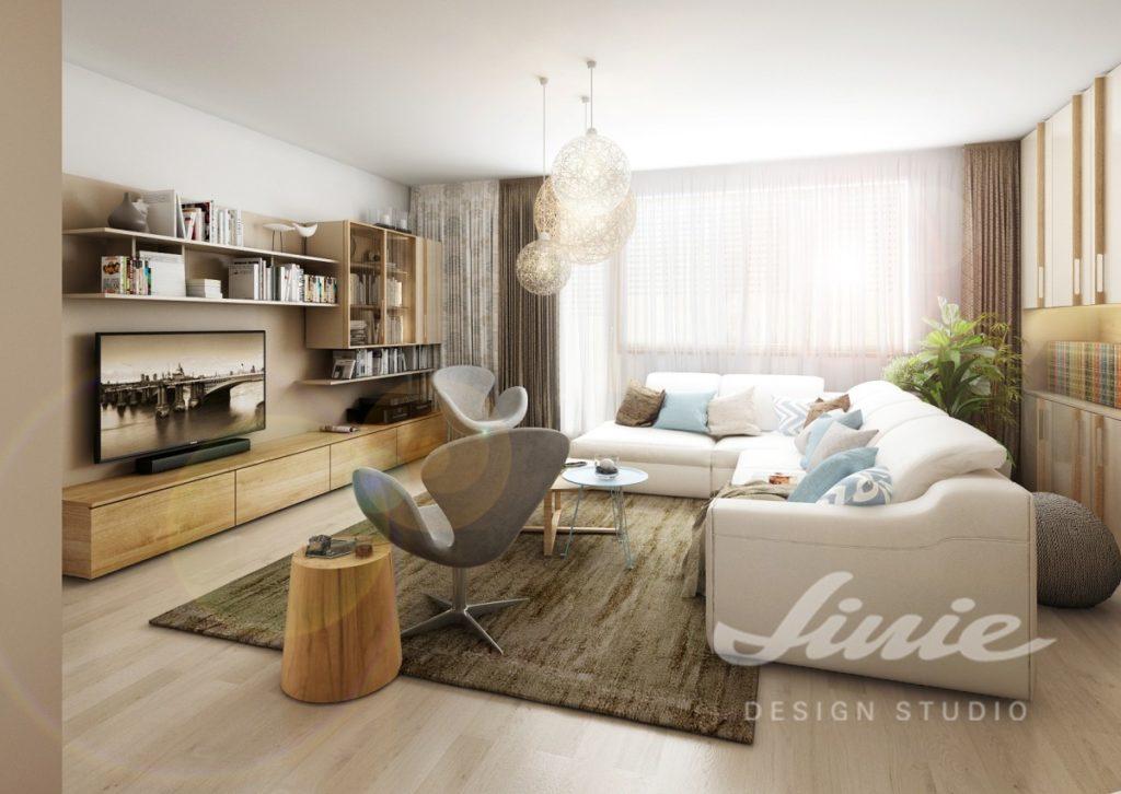 Inspirace pro obývací pokoj s bílou sedací soupravou a pastelovými polštářky
