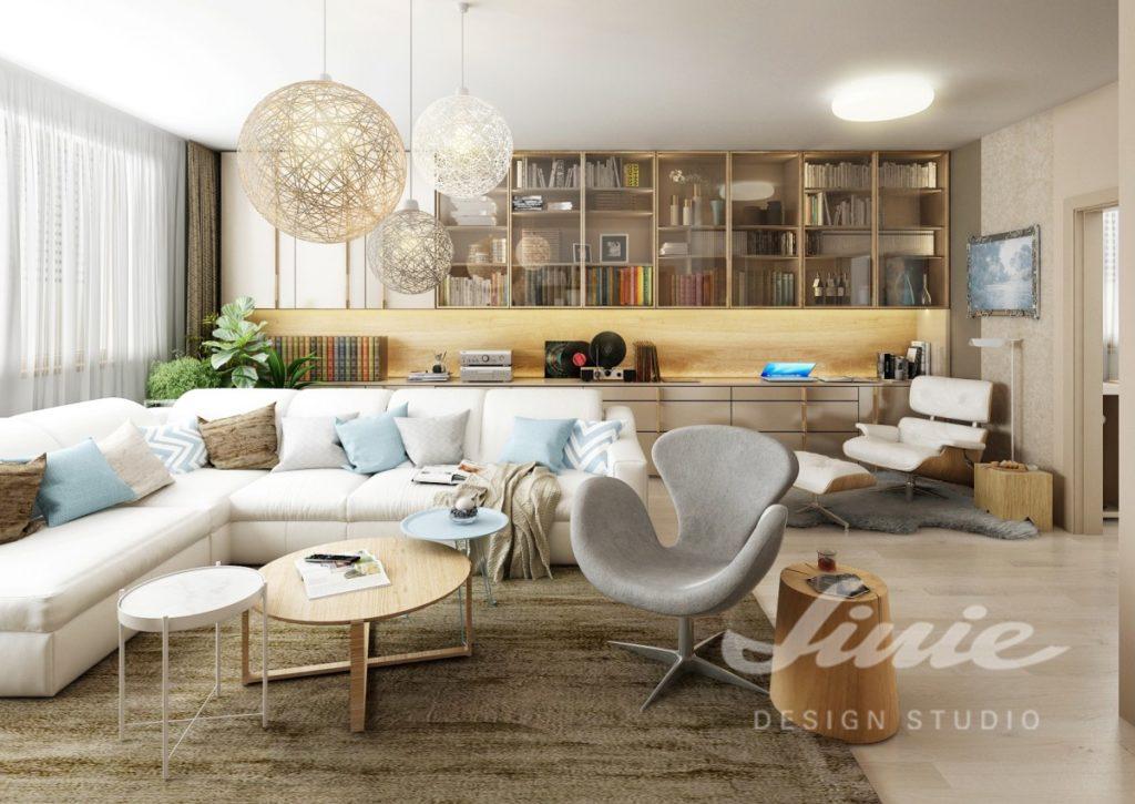 Inspirace pro obývací pokoj s knihovnou ze světlého dřeva