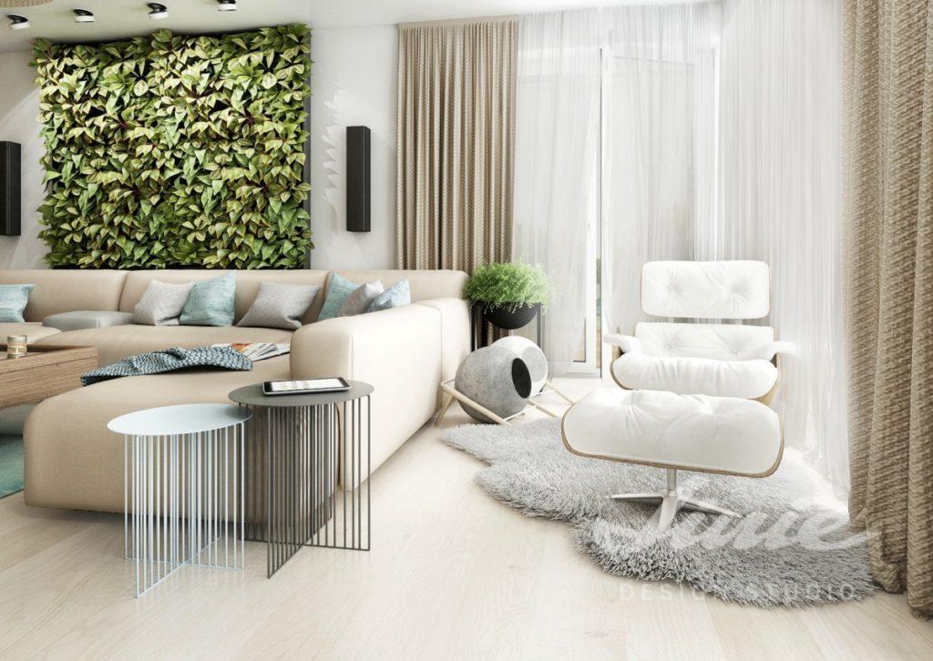 Inspirace pro obývací pokoj s krémovými závěsy