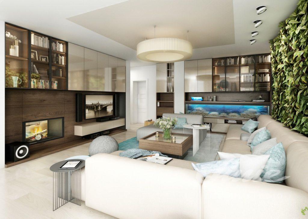 Inspirace pro obývací pokoj s krémovými prvky televizní stěnou z tmavého dřeva