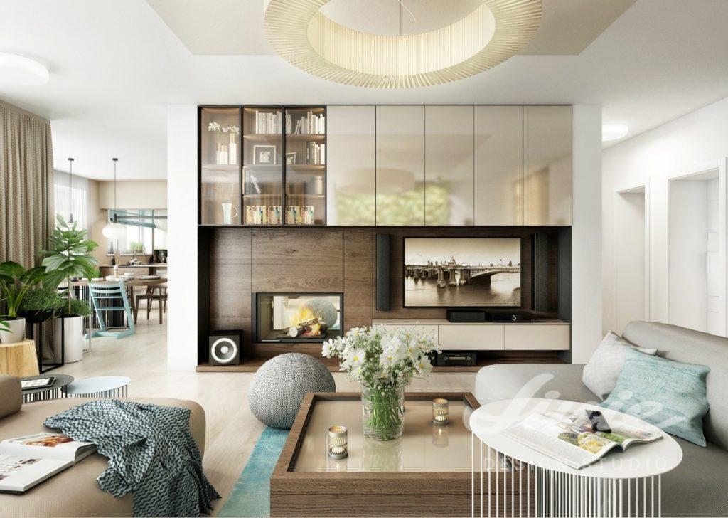 Inspirace pro obývací pokoj s krémovými prvky a tmavým dřevem