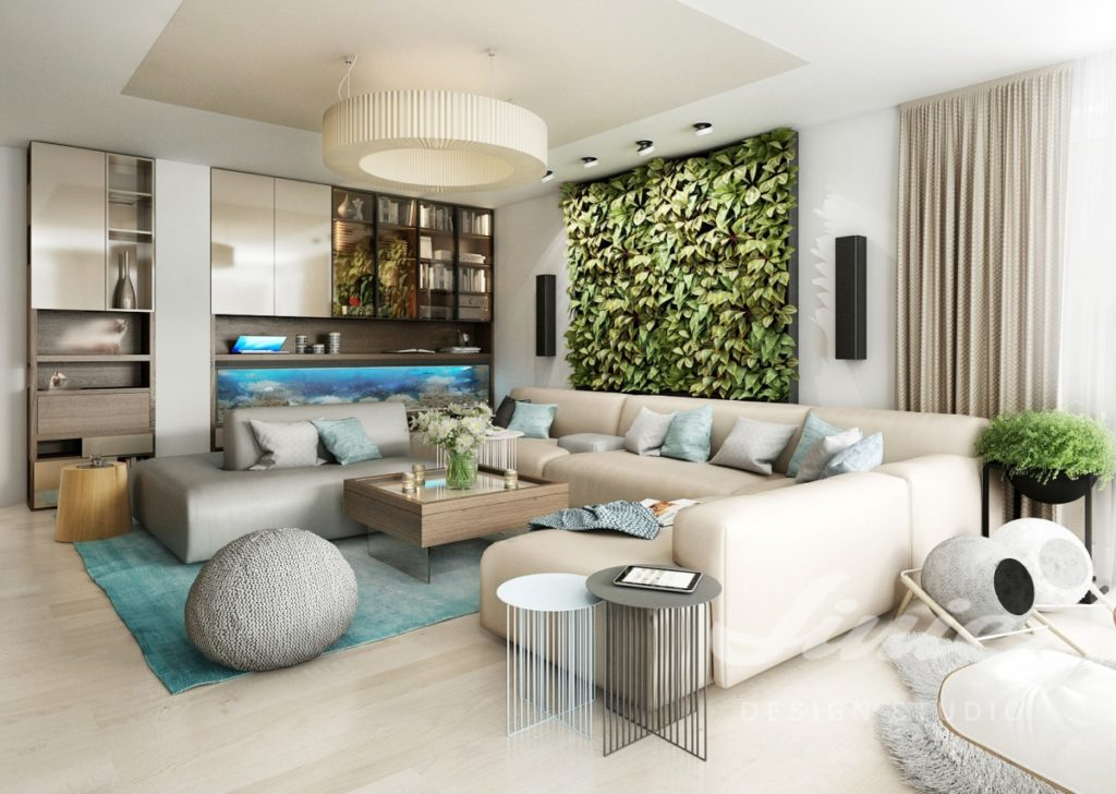 Inspirace pro obývací pokoj s krémovým interiérem