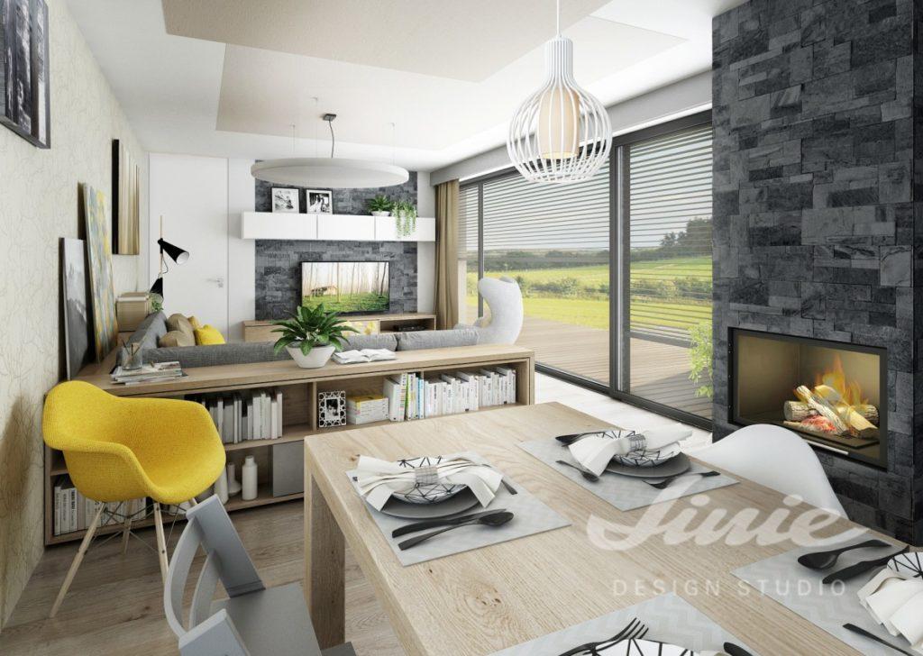 Inspirace pro obývací pokoj se žluto šedým vybavením