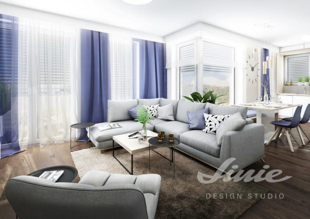 Inspirace pro obývací pokoj s pastelově modrými a bílými prvky
