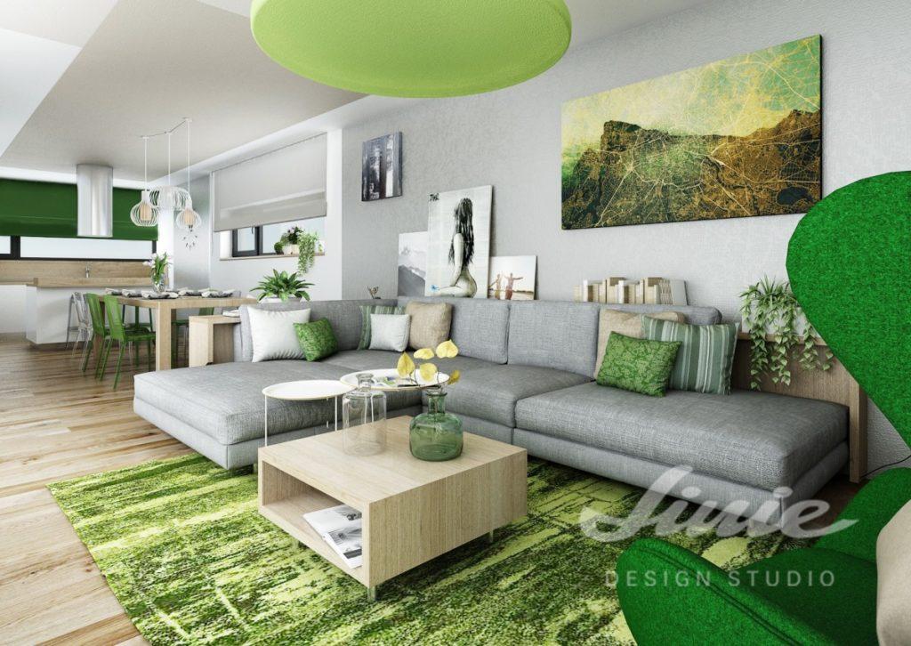 Inspirace pro obývací pokoj s tmavě a světle zelenými detaily