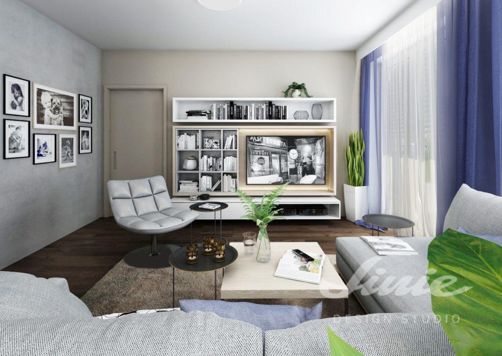 Inspirace pro obývací pokoj s tmavě modrými a šedými prvky