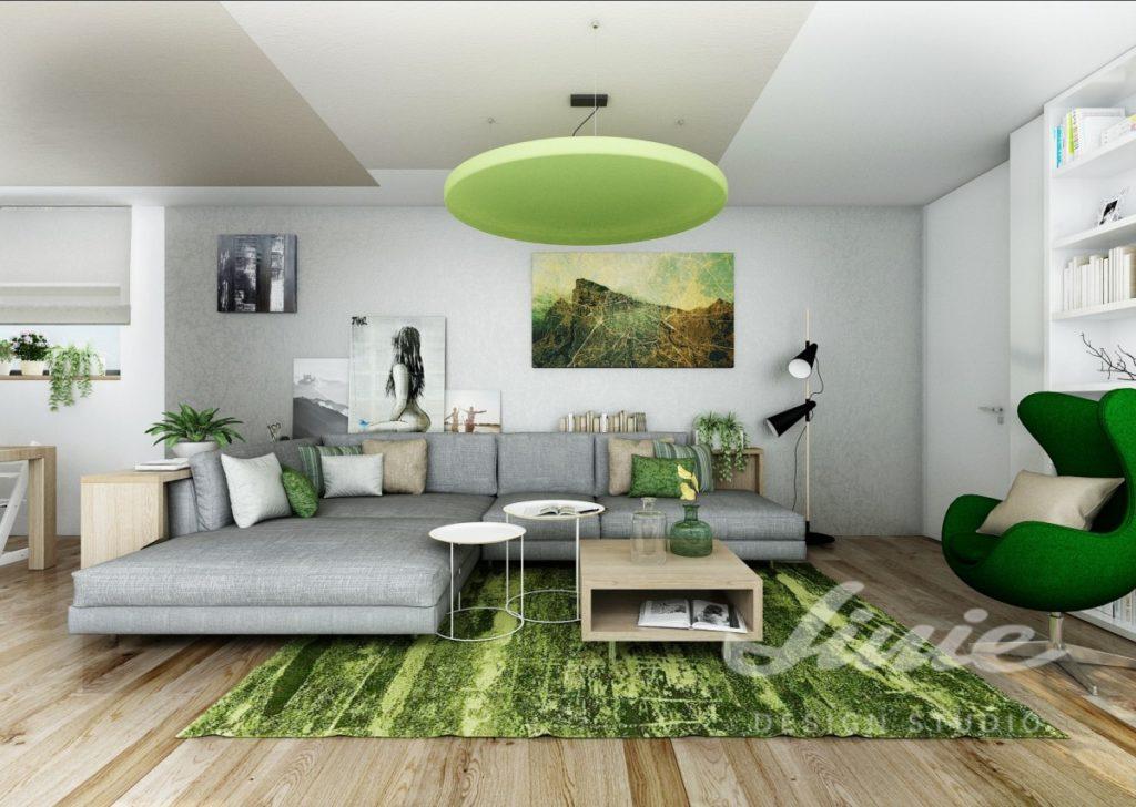 Inspirace pro obývací pokoj se světle a tmavě zelenými prvky