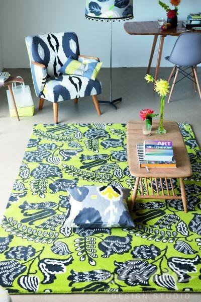 zelený koberec kusový se vzorem