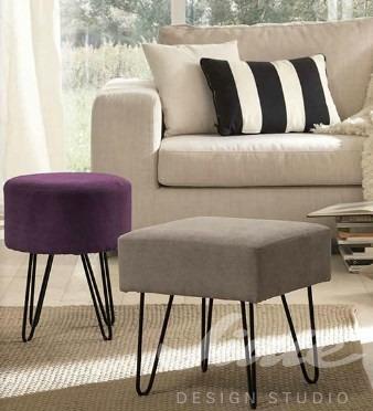 čalouněný taburet fialový šedý