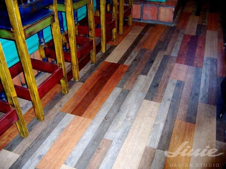 Barevná interiérová podlaha barevná prkna