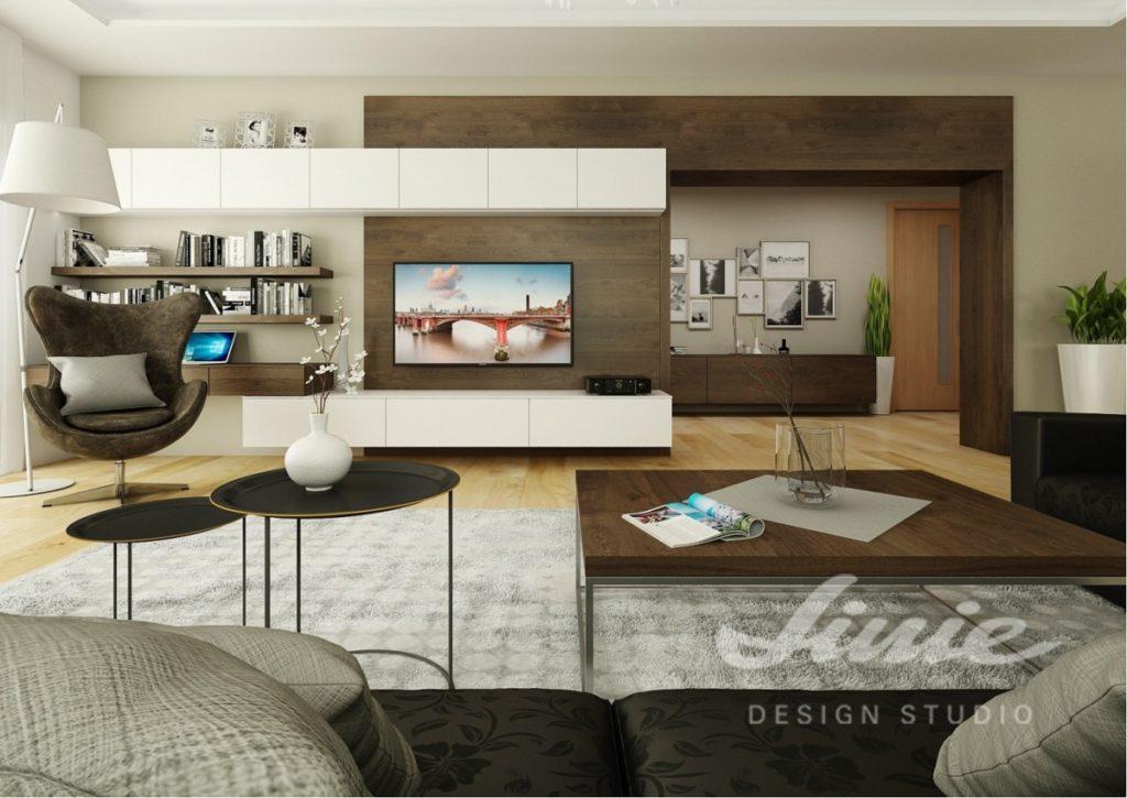 Realizace obývacího pokoje v teplých hnědých odstínech