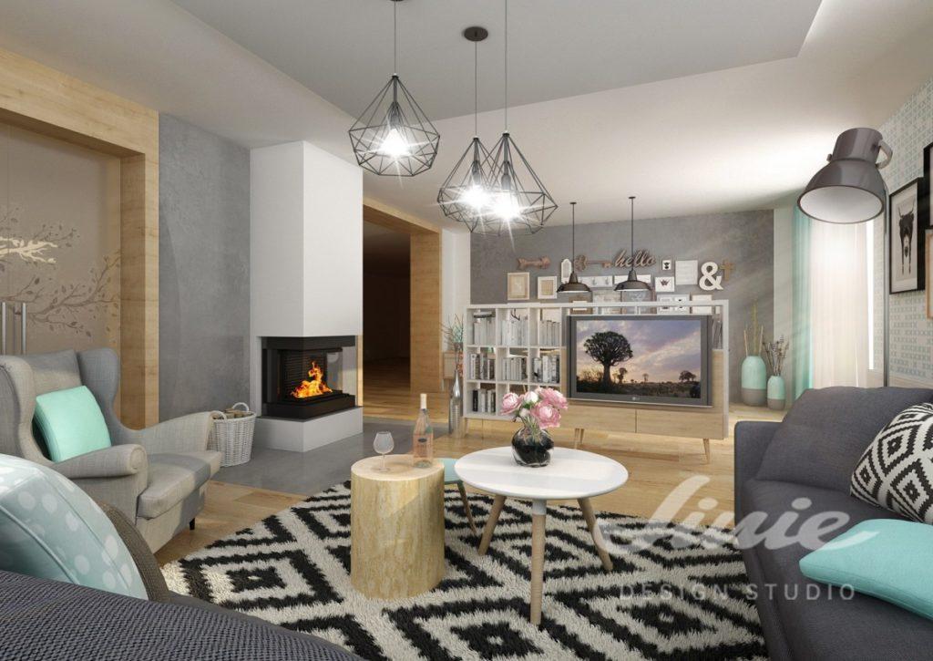 Realizace obývacího pokoje s tyrkysovými prvky