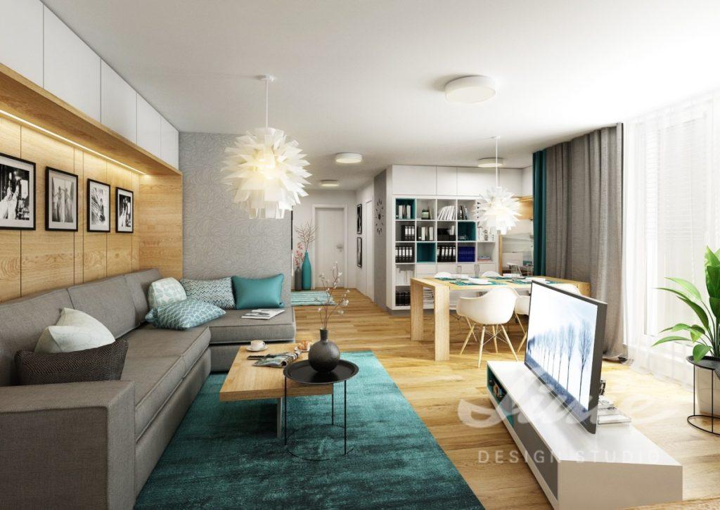 Realizace obývacího pokoje s petrolejovými odstíny
