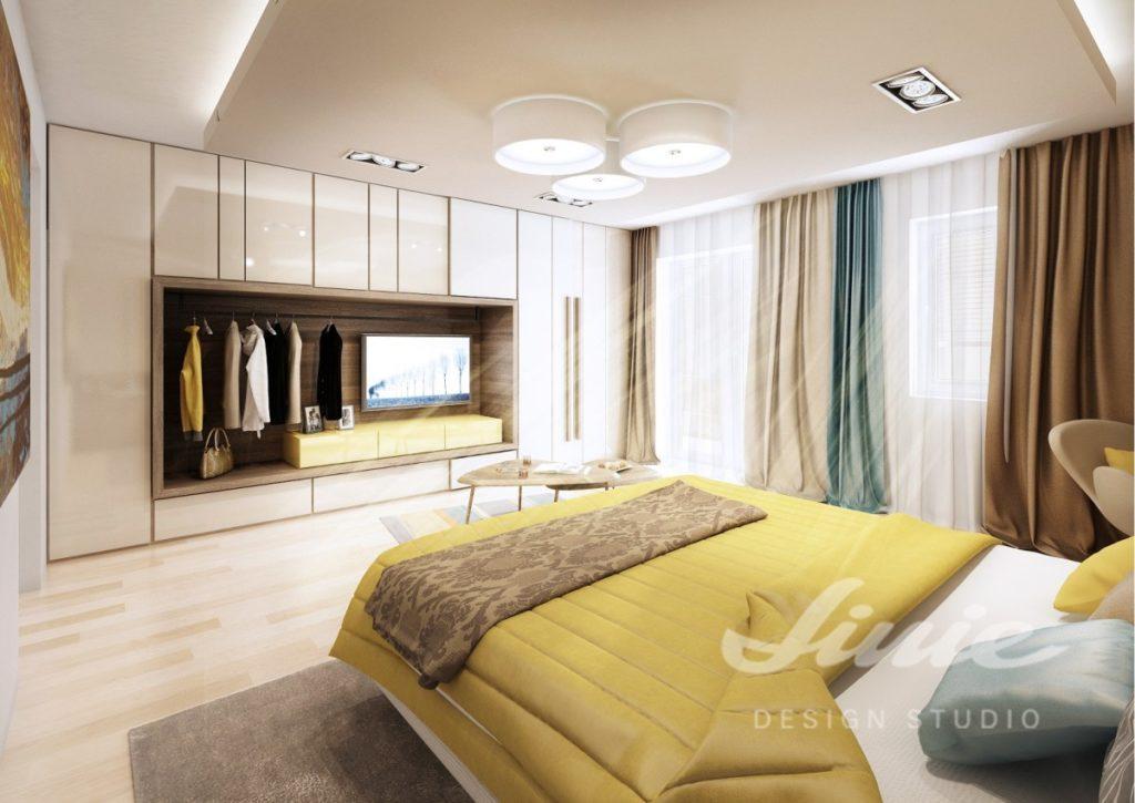 Realizace ložnice v teplých žlutých a hnědých odstínech
