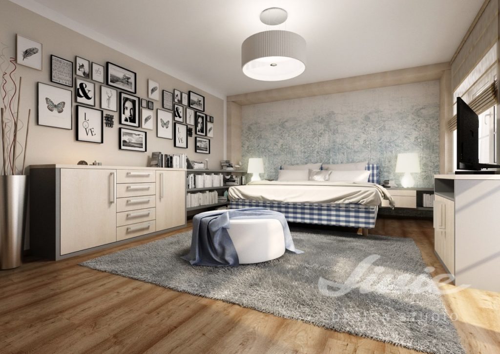 Realizace ložnice s modrými a šedými prvky