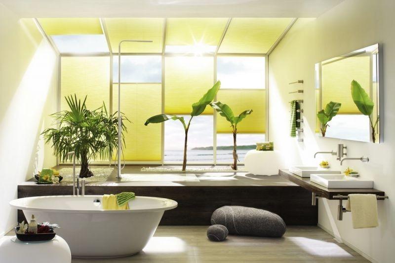 Stínící technika interiéru v jasně žluté barvě
