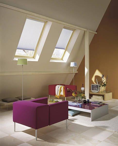 Střešní stínění v obývacím pokoji