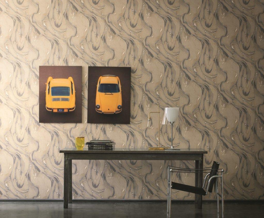 Světle hnědá tapeta na zeď s abstraktním vzorem