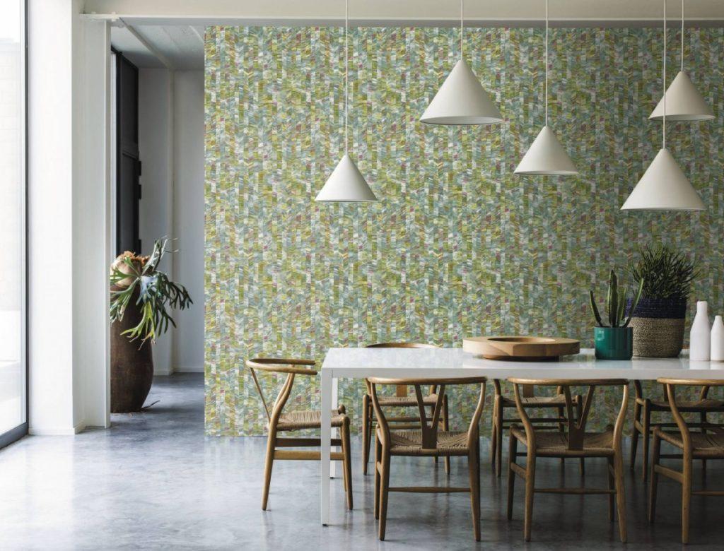 zelená tapeta na stěnu