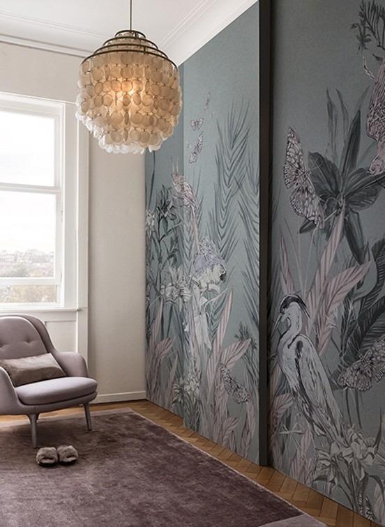 Obrazová tapeta na zeď s motivem ptáků a rostlin Linie design studio