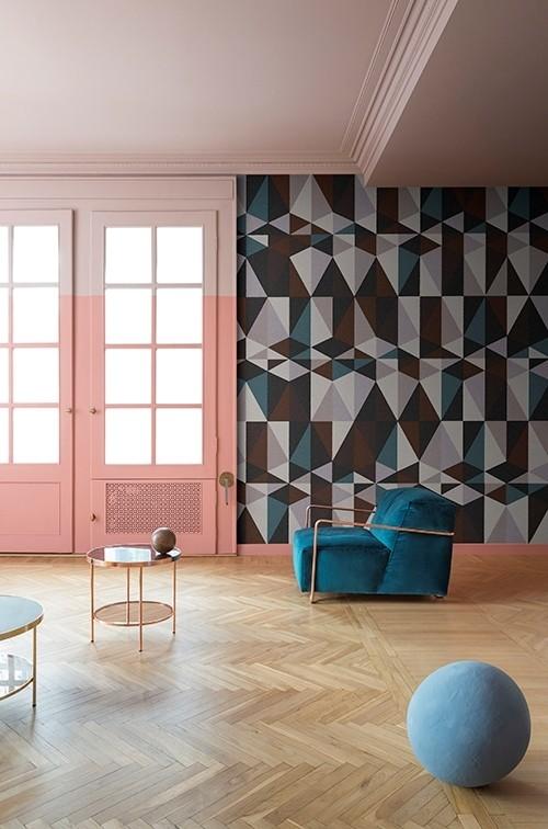 Retro tapeta na zeď s geometrickými tvary