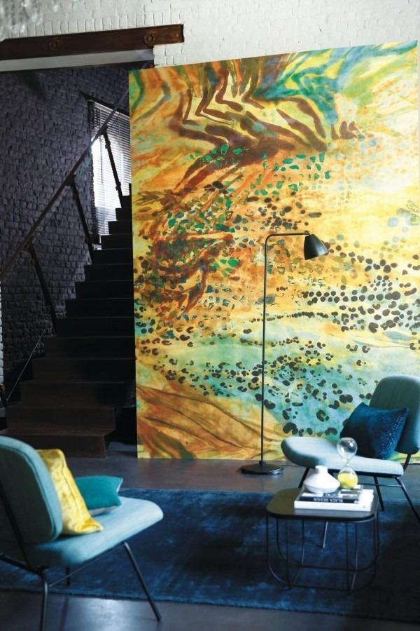 Obrazová tapeta na stěnu modrá a žlutá