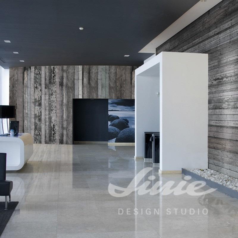 Tapeta na zeď s motivem šedých dřevěných prken