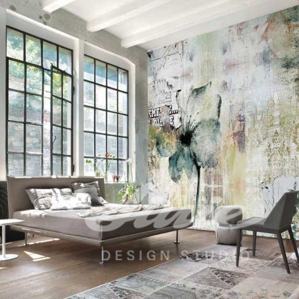 Pastelová abstraktní tapeta na zeď s květinou