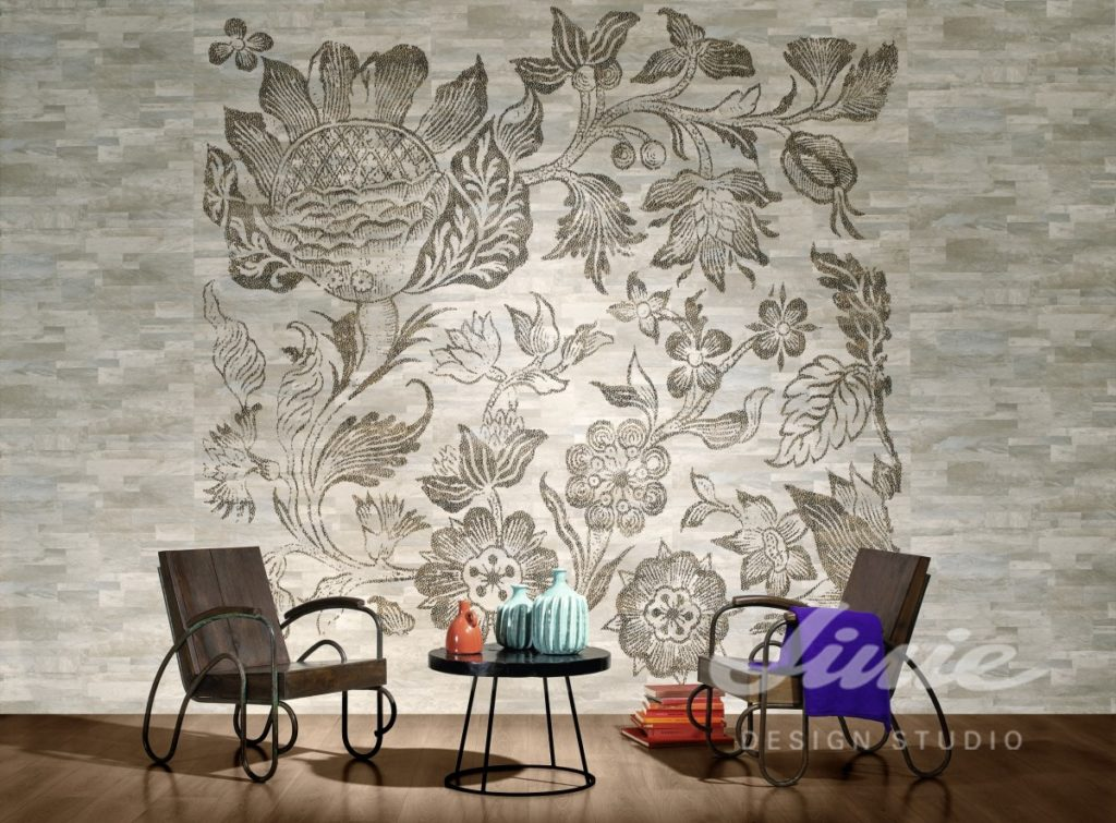 Šedě tónovaná tapeta na zeď s moderním vzorem