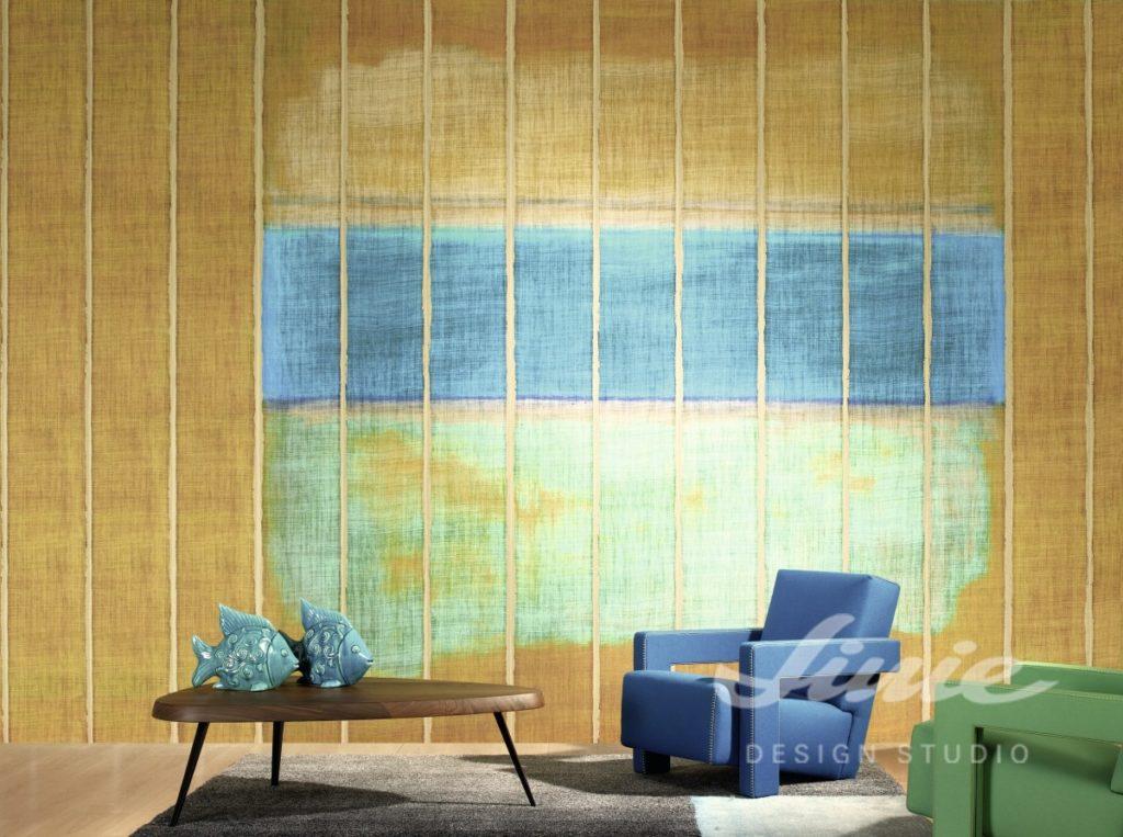 Hořčicová tapeta na zeď se světlými pruhy