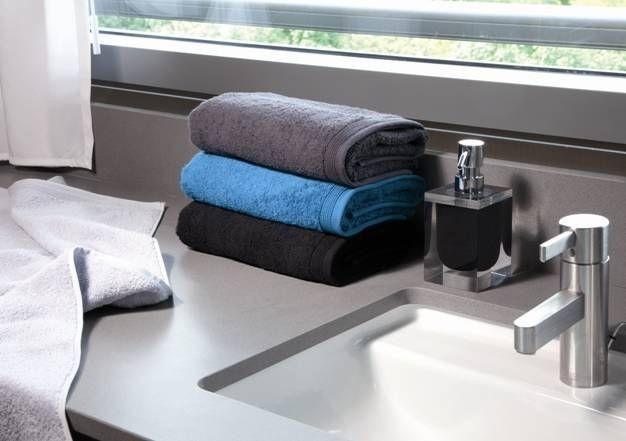 Souprava ručníků v šedých a modrých odstínech