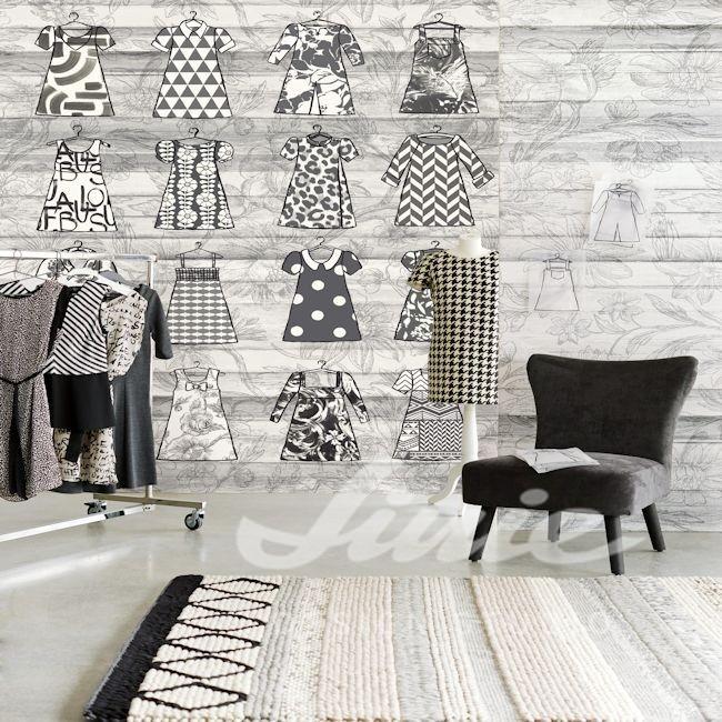 Dámské oblečení, nástěnná tapeta se vzorem oblečení, křeslo