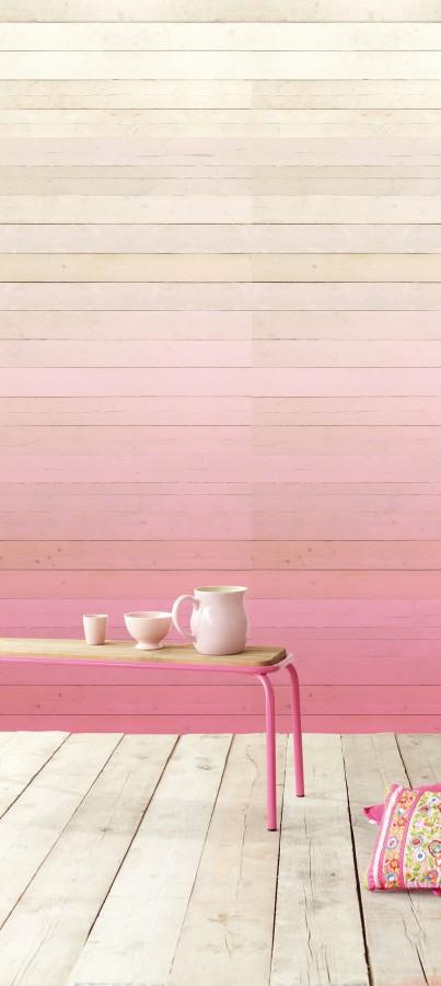Úzký stolek, tapeta s růžovým dřevem