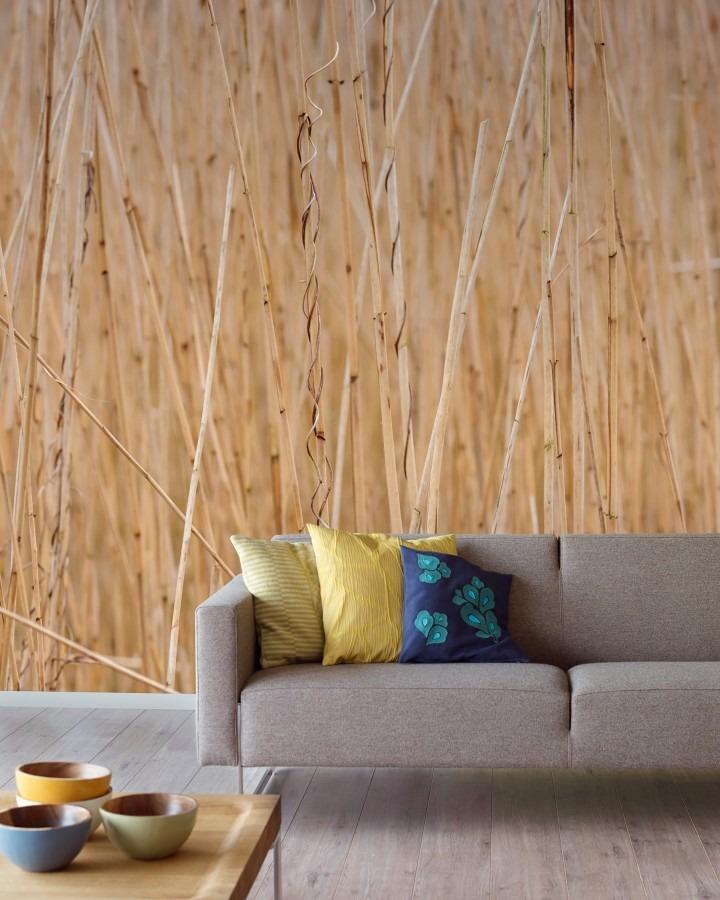 Béžová nástěnná tapeta a šedá pohovka se třemi polštářky