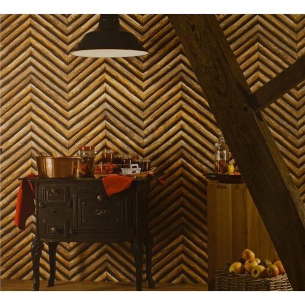 Tmavý stolek s bronzovým hrncem a hnědá tapeta dřeva na stěně