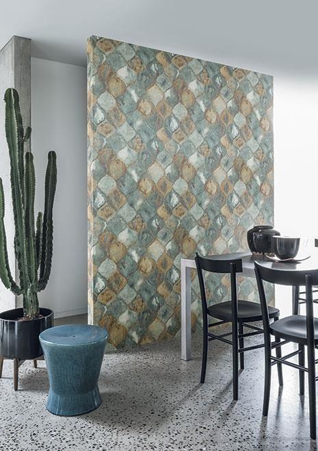 Nástěnná tapeta s abstraktním vzorem v jídelně