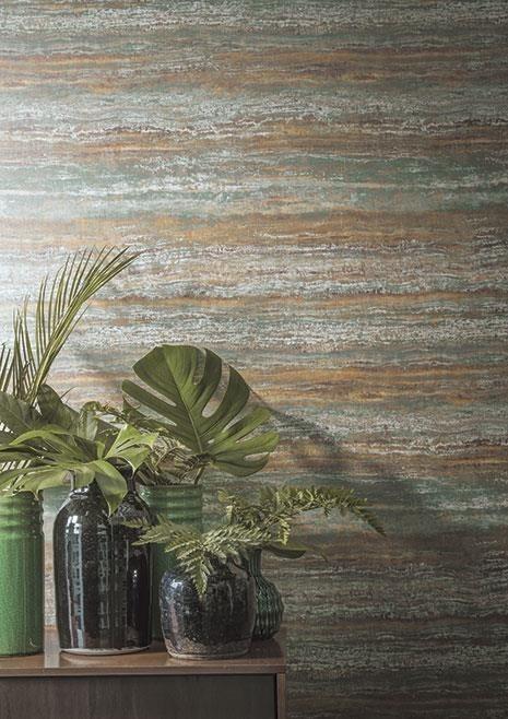 Abstraktní nástěnná tapeta a pokojové rostliny