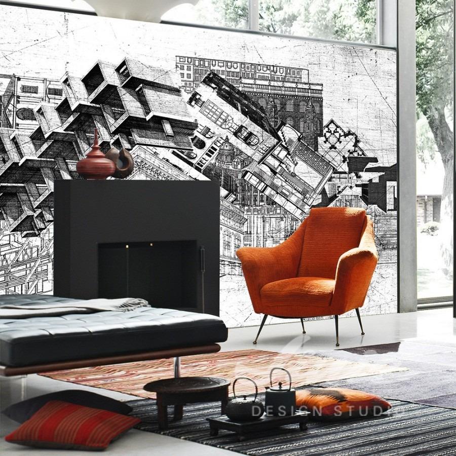 Vzorovaná nástěnná tapeta v obývacím pokoji