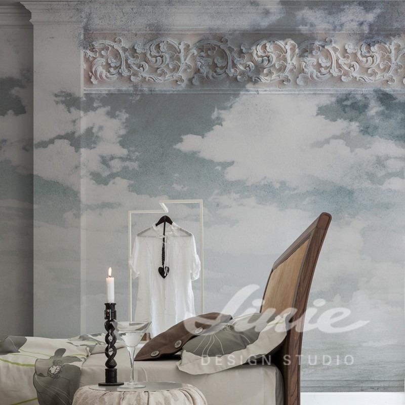 Nástěnná tapeta se vzorem nebe v ložnici