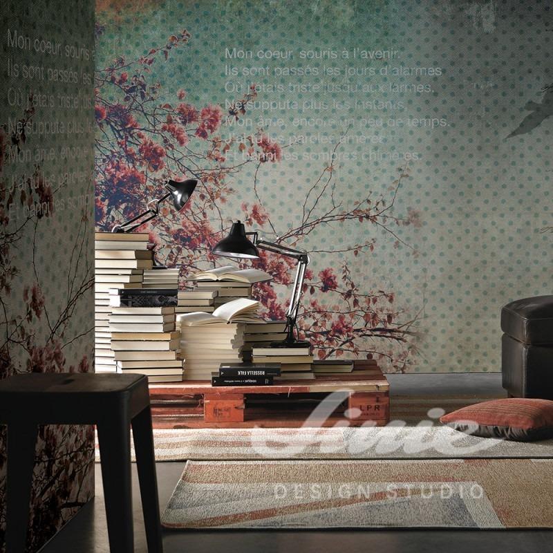 Nástěnná tapeta s přírodním motivem a nápisy, knihy
