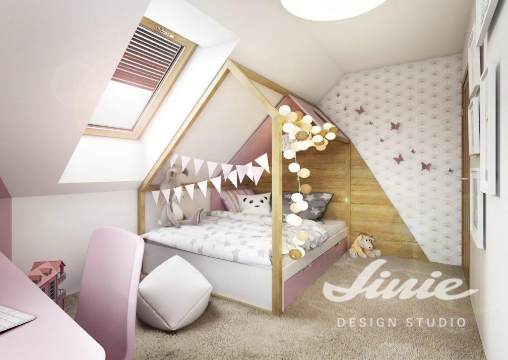 Růžový dětský pokoj ložnice