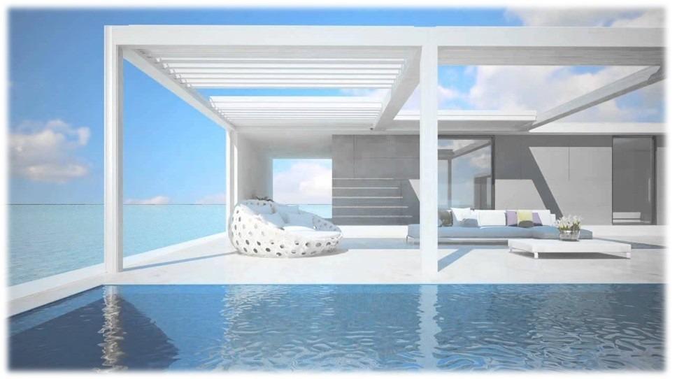 Moderní bílé stínění terasy
